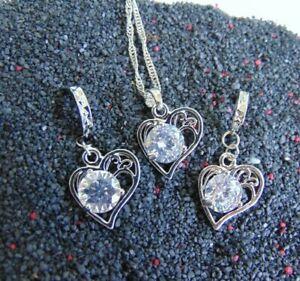 Liebe  Halskette Anhänger Creolen Zirkon Hochzeit 925 Silber Schmuck Set Traum