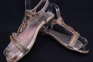 Women-039-s-Silver-Black-Gold-Rhinestone-Flat-Sandals-Wedding-Party-Dress-Shoes