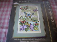 Bucilla Dimensions The Gold Collection Butterfly Forest Counted Cross Stitch NEW Craft Supplies