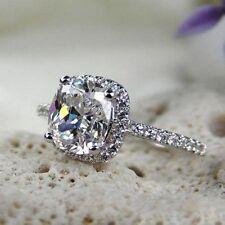 2 CT Cushion Cut Halo NSCD Diamond Engagement Ring Platinum Plated Sz 5/6/7/8
