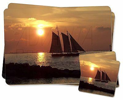 Bello Barca A Vela Gemelli 2x Tovagliette +2x Sottobicchieri Set In Scatola Regalo, Boa-4pc-mostra Il Titolo Originale