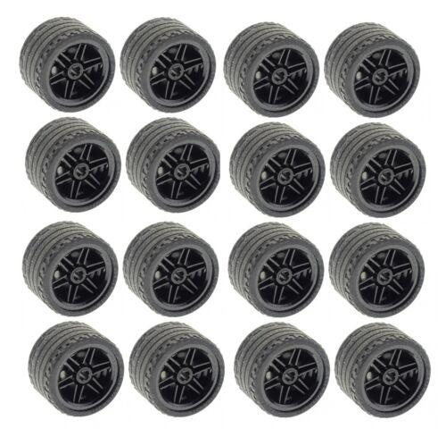 ☀️NEW Lego 16x Technic Wheels 37x22 ZR Tires Black Wheels 56145 55978 lot