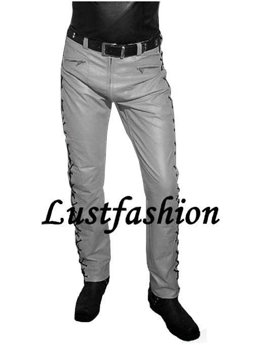 LEDERHOSE grau Schnürjeans neu Schnürlederhose Designer Lederjeans Cuir leather