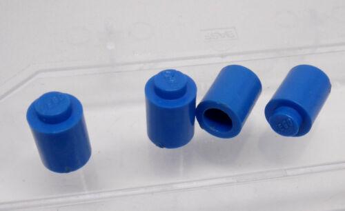Lego 4 x Stein 3062old rund 1x1 Noppe geschlossen blau
