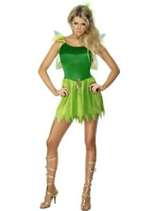 Woodland-Fairy-Costume-Womens-Ladies-Tinkerbell-Pixie-Nymph-Fancy-Dress-Outfit