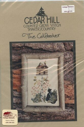 The Catfeeder Cat Birdhouse Cedar Hill Cross Stitch Pattern NEW