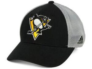 4e277913e48b4 Pittsburgh Penguins adidas Team Logo Slouch Mesh Flex Fit Hat   Cap ...