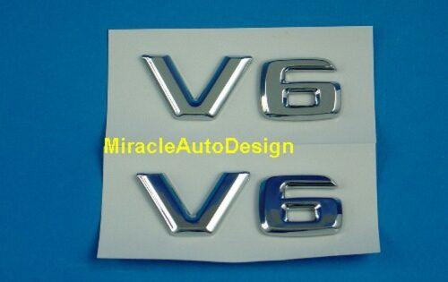 V6 Letter Badges Emblem For Mercedes Benz BMW Mustang Camaro 2 PCS Chrome
