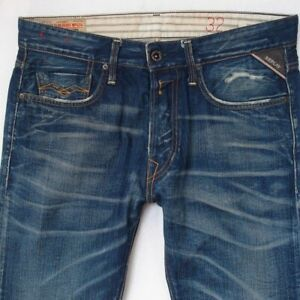 Details about Mens Replay M909 JENNON Slim Straight Blue Jeans W32 L32