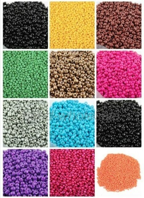 45g(about 1350pcs) New Cezch Glass Loose seed Spacer Beads Solid Colors For DIY