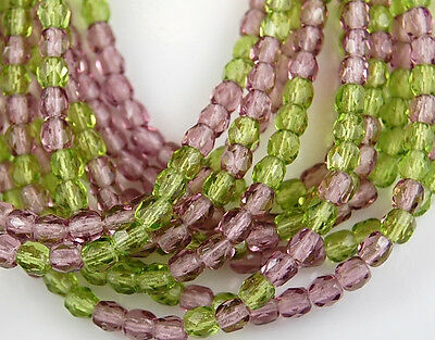 4mm Czech Mix Amethyst Olive Round Faceted Fire Polished Preciosa Glass Beads