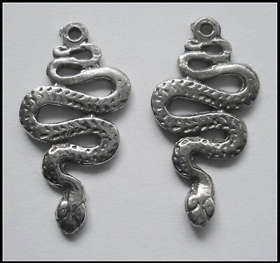 PEWTER CHARM #201 x 2 SNAKE 30mm x 15mm snakes - 1 bail