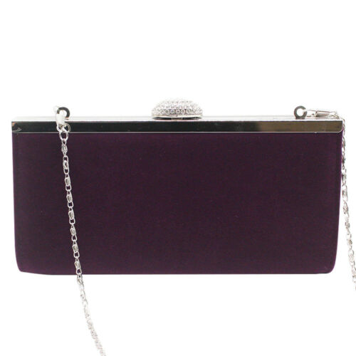 WOMENS FAUX SUEDE VELVET PARTY PROM BRIDAL EVENING CLUTCH HAND BAG PURSE HANDBAG