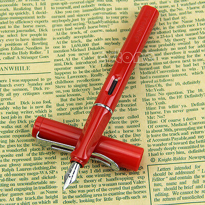 Chic New Plastic Cap & Barrel Red Jinhao 599A Safari Calligraphy Fountain Pen