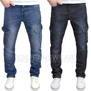 Enzo-Men-039-s-Designer-Regular-Fit-Straight-Leg-Multi-Pocket-Cargo-Jeans-BNWT
