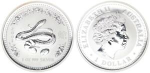 Australie 1 Oz 2001 Pur Argent Année Du Serpent Lunar I Tampon Brillance-afficher Le Titre D'origine