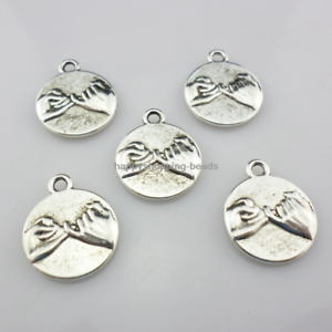 12//36pcs Tibetan Silver Lover Oath Charms Pendant Beads Crafts 15x17.5mm