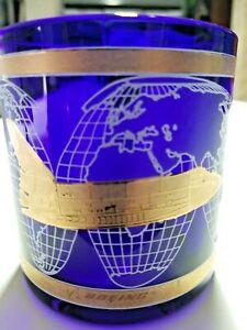NASA-Boeing-Space-Shuttle-Blue-Glass-Coffee-Mug-Gold-Trim-USA