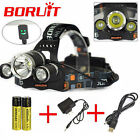 Boruit Rechargeable 13000Lm 3xXM-L T6+2 R5 LED Headlamp USB light 18650 Charger