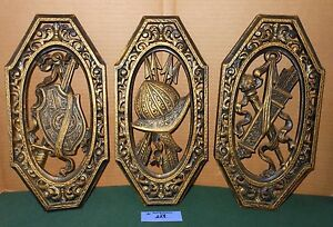 3 Vintage Homco Home Interior Ornate Spanish Medieval Coat Of Arms Wall Plaques Ebay