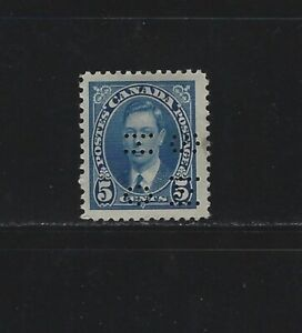 CANADA-O235-5c-KING-GEORGE-VI-MUFTI-ISSUE-4-HOLE-OHMS-PERFIN-MINT-STAMP-MH