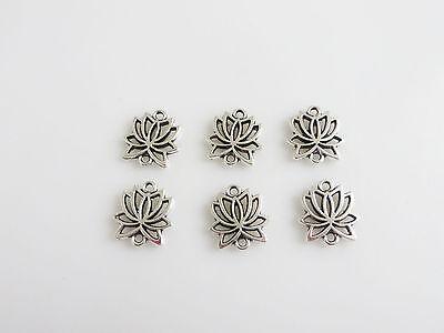 30pcs Antique Silver Lotus Flower Connectors Charms Pendants Findings 16x15mm
