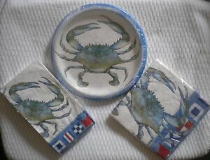 Image is loading New-Blue-Crab-Paper-plates-or-Luncheon-Guest- & New Blue Crab Paper plates or Luncheon ~ Guest ~ napkins you pick ...