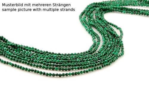 Länge 39 cm //2762 Malachit Kette ohne Verschluss facettierte Kugeln 2 mm grün