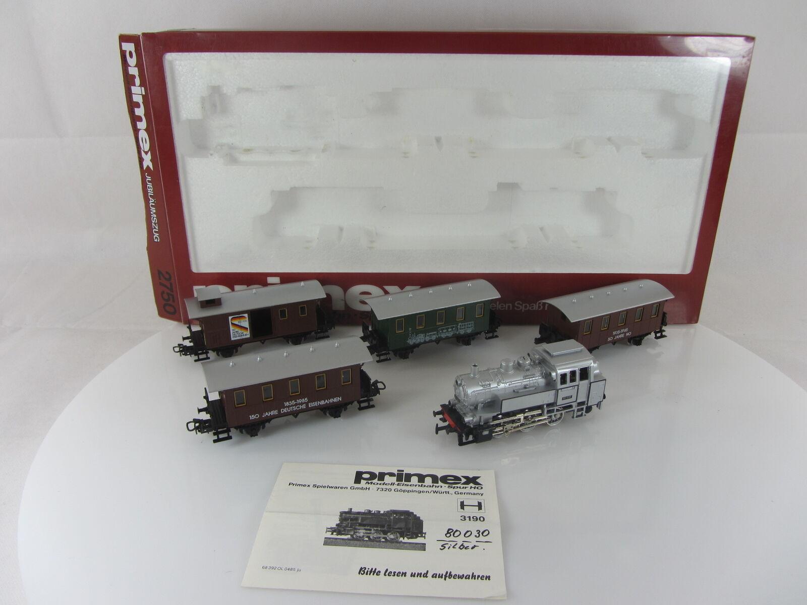 Primex 2750 jubiläumszug de pasajeros rce con máquina de vapor buen formaci en su caja original