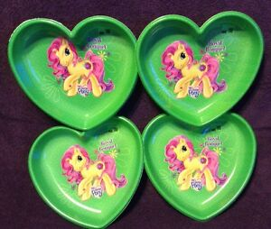 Image is loading My-Little-Pony-Heart-Shaped-Serving-Plates-4- & My Little Pony Heart Shaped Serving Plates 4 Valentine Green Royal ...