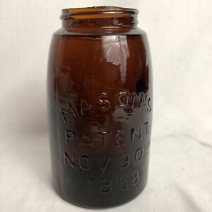 MASON'S PATENT NOV 30TH 1858 BROWN AMBER MIDGET PINT FRUIT JAR