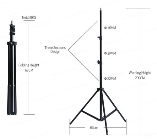 2x 2M Professional Photography Adjustable Soft Box Flash Continuous Light Stand
