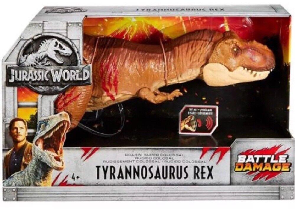 Jurassic World Battle Damaged T-Rex Super Collosal Tyrannosaurus Roars Rare NEW