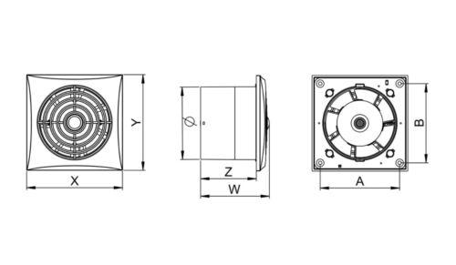 """Salle de bains silencieux Hotte aspirante 125mm 5 /""""avec minuterie faible bruit calme énergétique wz125t"""