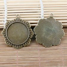 6pcs antiqued bronze color round cabochon setting with ears EF0703