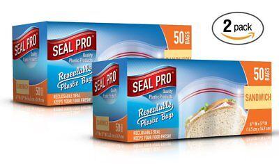 Sealpro Plastica Zip Seal Cibo Storage Bags Sandwich Sacchetti Dimensioni (100)- Grandi Varietà