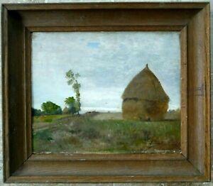 Tableau-1870-Vincent-Leopold-Thenot-Bordeaux-impressionnisme-les-Meules-de-foin
