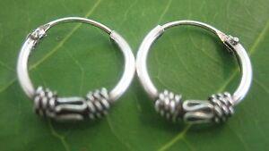 REAL sterling silver OXIDISED Bali Thai 12 mm sleepers hoop Earrings  Men Women