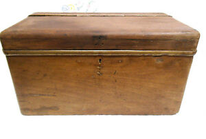 Antique Wooden Box Early Car Charabanc Boot Trunk Or