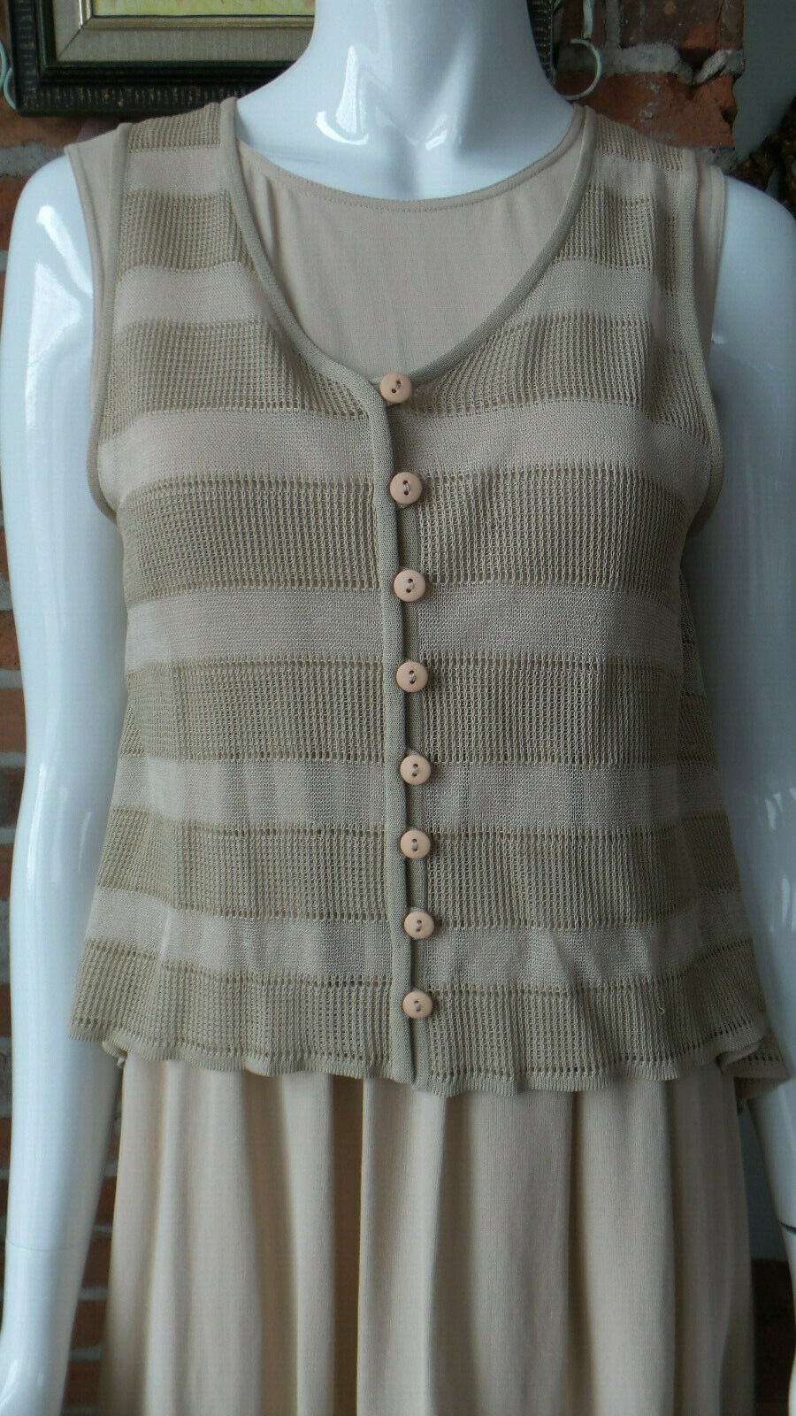 Giorgio Armani Dress with Over Blouse Beige Sleeveless Button Front RARE Size 40