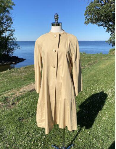 Vtg Pauline Trigere Designer Trench Coat Tan Cott… - image 1