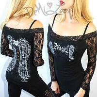 DIY DEMI LOON Fallen Angel Wings Tattoo Off Shoulder Sexy Biker LS tee Top S/M/L