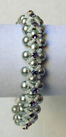 Hugs & Kisses Pearl Bracelet With Tanzanite Crystals one Of A Kind Usa Made