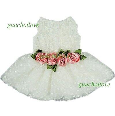 Fitwarm Party Princess Dog Dress Wedding Pet Clothes Lace Tutu Dress Bow Apparel