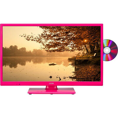 """LOGIK L24HEDP15 24"""" LED TV with Built-in DVD Player Pink HD ready 720p Freeview"""
