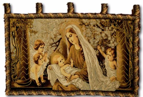 28x47 Woven Virgin Mary /& Child Religious Christ Tapestry Wall Hanging Decor