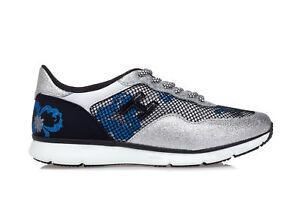 3b92d13455354 Caricamento dell immagine in corso HOGAN-Scarpe-Sneakers-Donna -H254-Glitter-Argento-Pelle-