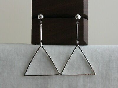 Silver triangle earrings Modern minimal Geometric earrings Gift for her