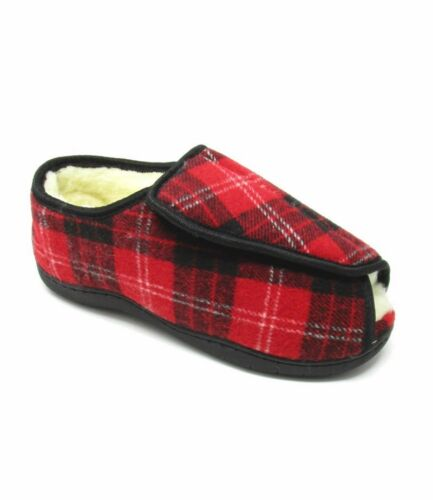 Extra Fitting Slippers 5e Wide Shoes Ladies E Foam Toe Memory Tartan donna Open 6xdnEZqw