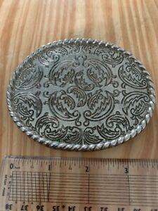 Vintage-Cowboy-Western-Tanside-Brass-Belt-Buckle-Patterned